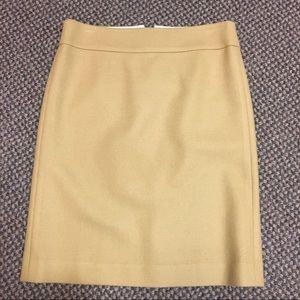 J Crew 0 Mustard Gold Wool Blend Pencil Skirt